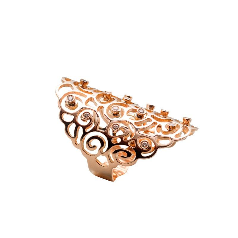 Anillo fósil caracol oro rosa